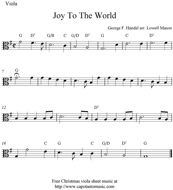 Sheet Music And Lyrics To Joy To The World: Viola Sheet Music For Beginners Christmas Music