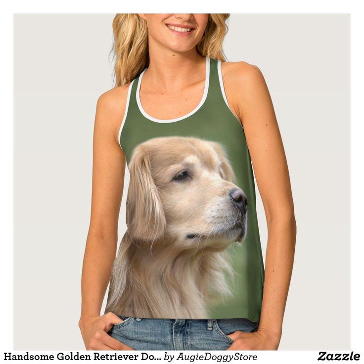 Handsome Golden Retriever Dog in Closeup Tank Top
