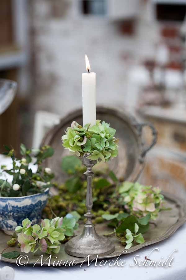 display a group of similar items in a tray for impact - silver tray and candle stick and hydrangea and blue and white china