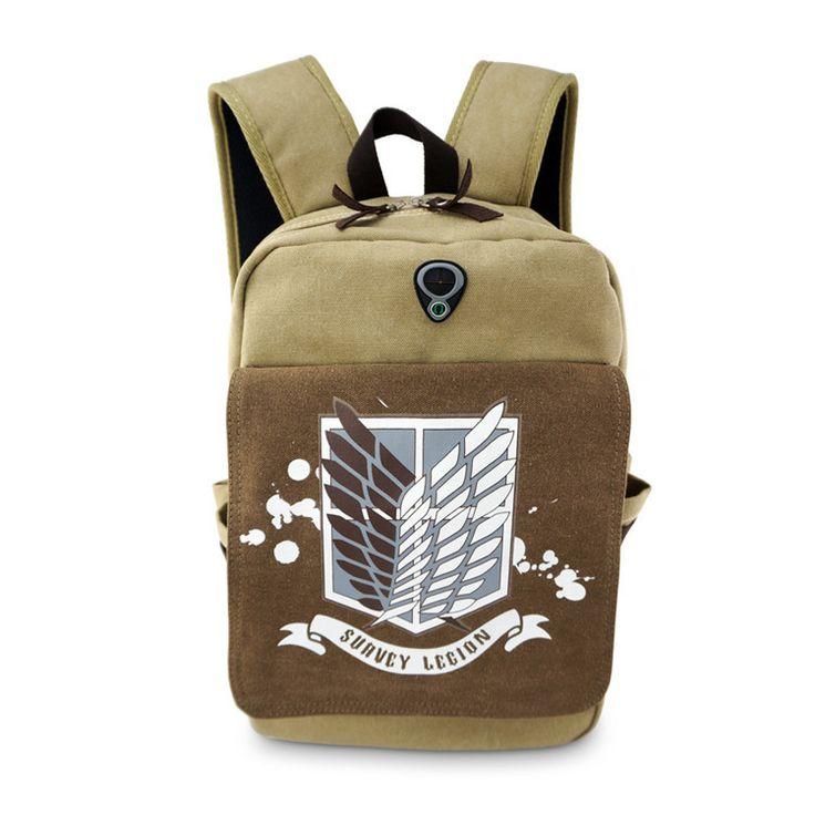 Attack on Titan Shingeki no Kyojin Japanese Harajuku Leisure canvas College winds man woman Backpacks High capacity schoolbag