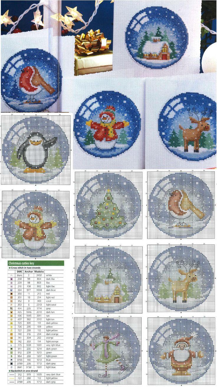 Cross-stitch Christmas Snow Globe Ornaments Set... voor op kaarten