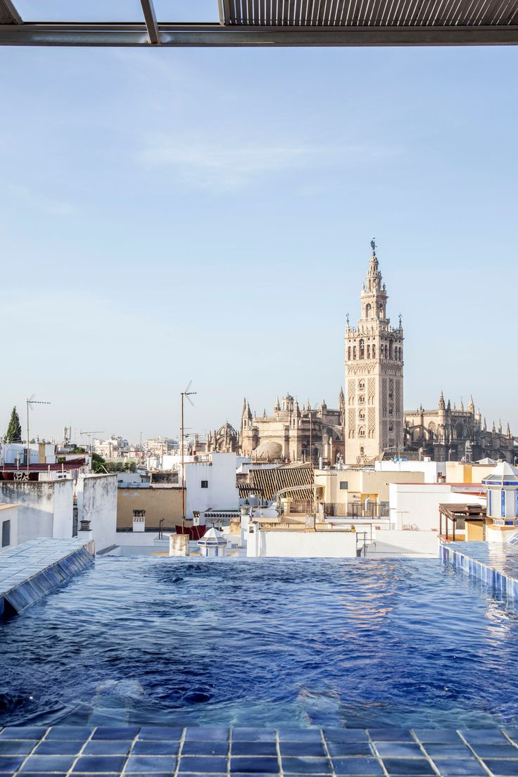 Seville - the view from the pool on the rooftop of Aire de Sevilla (a traditional bathhouse). Photo by Margaret Stepien.