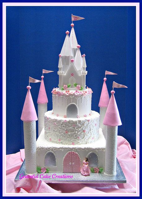 Castle Birthday Cake by Graceful Cake Creations, via Flickr