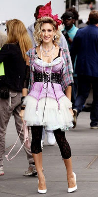 Carrie Bradshaw of Sex & the City wearing 80's fashion, & vintage Betsey Johnson!!!