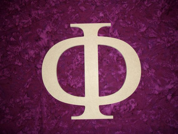 unfinished wood greek letter phi symbol by