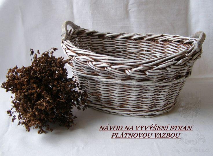 Návod na vyvýšené strany košíku plátnovou vazbou - Papírové pletení  cz2