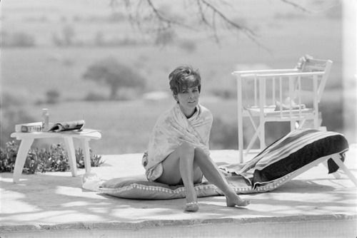 "Audrey Hepburn, 1967 British actress Audrey Hepburn in swimsuit by the swimming pool on location in St Tropez during filming of ""Two For The Road"" Photo by Terry O'Neil """