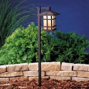 Kichler Lighting 15322AGZ Cross Creek Lantern 1-Light 12-Volt Landscape Path & Spread Light, Aged Bronze with Textured Linen Seedy Glass Panels by Kichler. $186.00. From the Manufacturer                The Kichler Lighting 15322AGZ Cross Creek Lantern Low Voltage Landscape Path and Spread Light is designed to be noticed. The Arts and Crafts style create a distinctive simplicity perfect for accent lighting or a path light. Made of high quality aluminum with texture...