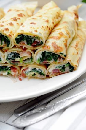 Kulinarne podróże: Wytrawne naleśniki. Szpinak, feta i szynka parmeńska.