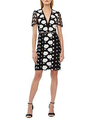 bd5d2b63043 ML Monique Lhuillier Fitted Cocktail Lace Dress