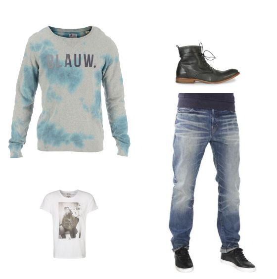 Denim outfit outfit - Vrijetijdskleding - Scotch & Soda trui met leuke effecten gecombineerd met een G-Star jeans met vintage wassing. Boom Bap shirt met mooie kraag en gave print en Hudson leren boots.