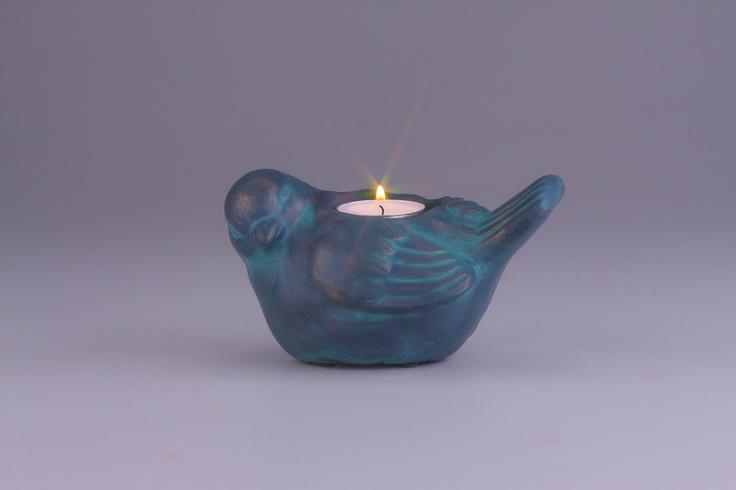 Dekoracyjny ptak ze świecznikiem - CENA: 17,00 zł