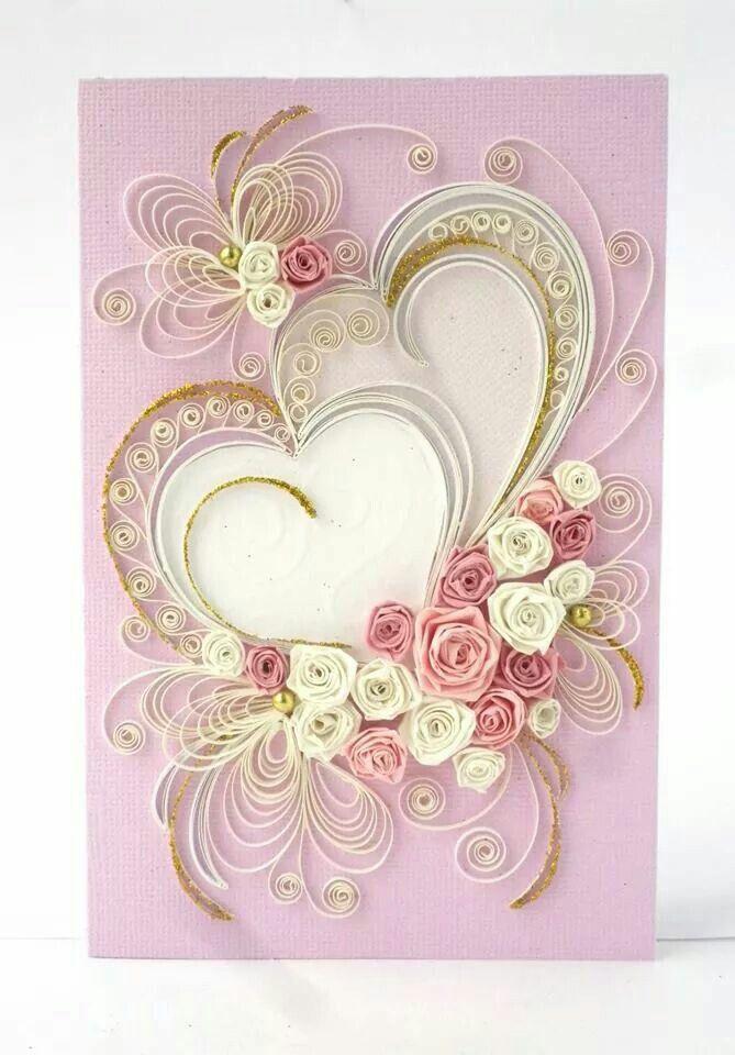 Квиллинг свадьба открытка