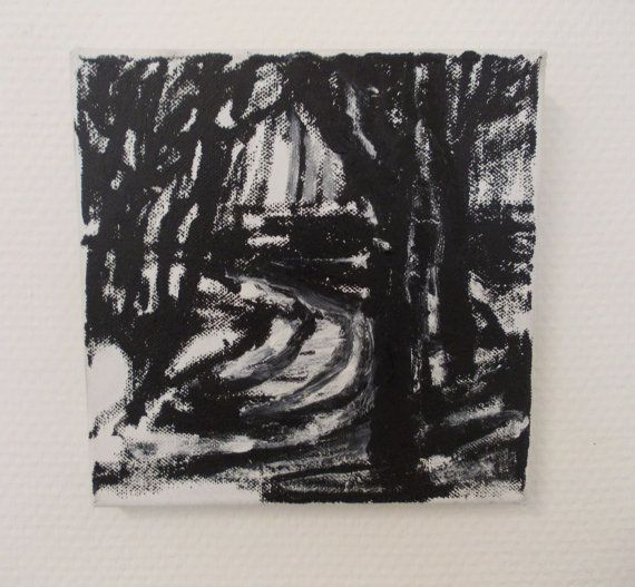 Small painting, with oil and acrylic on canvas. Impression of landscape with trees, painted en plein air.