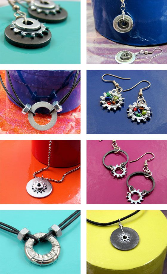 I love how these mechanical, industrial-like objects can be made into cute jewelry.