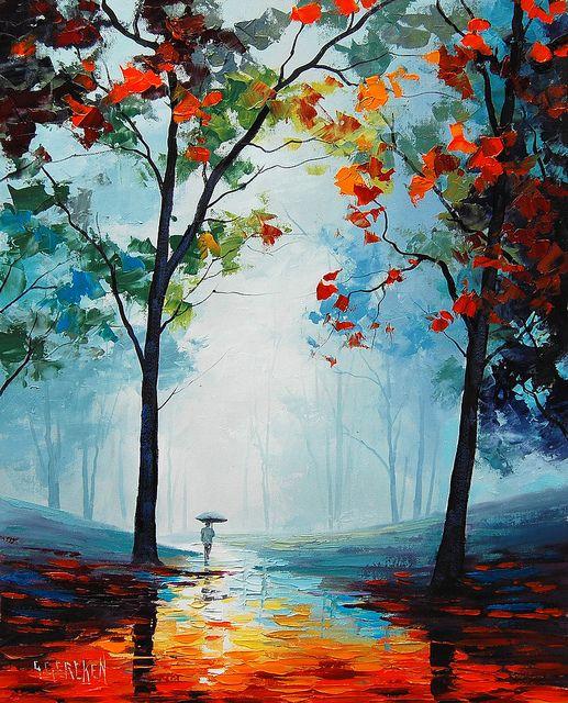 My website afremov.com ___________________________ Use 15% discount coupon - GeraSU15 ___________________________ #art #landscape #painting #afremov #canvas #artwork #romantic #love #umbrella #rain #light #night #evening #park #tree #forest #city