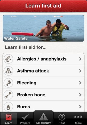 First Aid by American Red Cross ($0.00) Accidents happen. The official American Red Cross First Aid app puts expert advice for everyday emergencies in your hand. Get the app and be prepared for what life brings. With videos, interactive quizzes and simple step-by-step advice it's never been easier to know first aid.