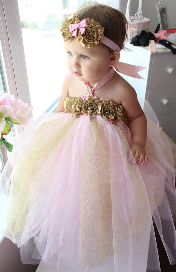 b4e02d4d6174 Gorgeous Pink and Gold Tutu Dress Shabby Chic Flower Tutu