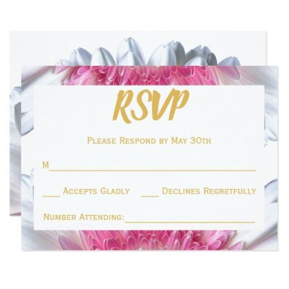 Floral Pink Gold White Wedding RSVP Reply Card - gold wedding gifts customize marriage diy unique golden