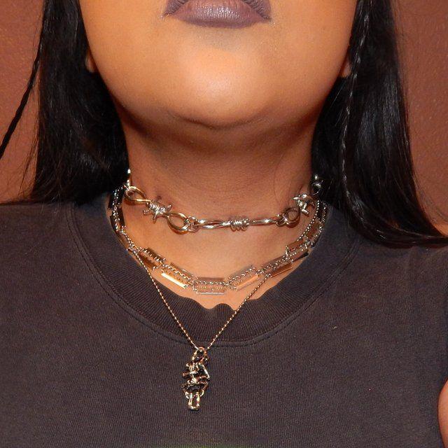 43f2776ab Razor chain choker 👿 ~silver tone ~handmade and brand on on - Depop ...