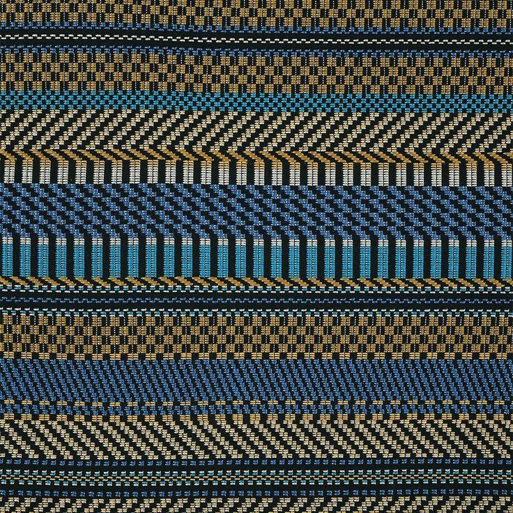 Tissu jacquard rayures bleues et jaunes