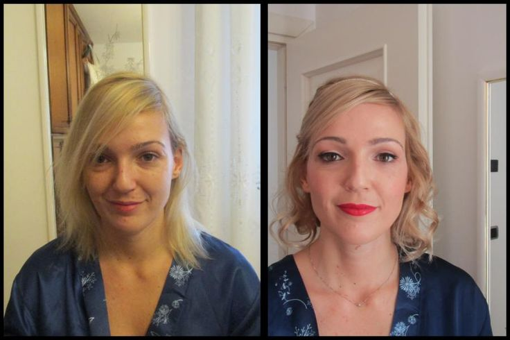 before and after makeup and updo
