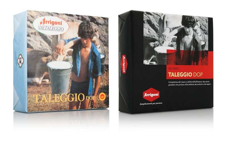 Arrigoni, Rebranding. The image of theTaleggio DOP, an iconicproduct for Arrigoni, before and after the restyling.