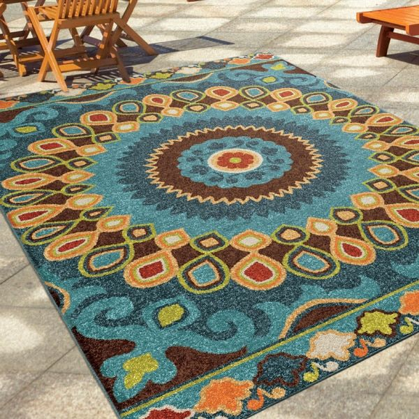Carolina Weavers Indoor/Outdoor Santa Barbara Collection Bangkok Multi Area Rug (7'8 x 10'10)
