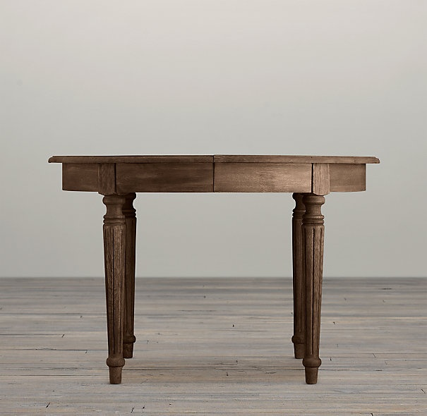 """Restoration Hardware $845 Vintage French Fluted Leg 48"""" Table: 48""""L x 47""""W x 31""""H; one 20"""" drop-in leaf; extends to 68""""L; 147 lbs."""