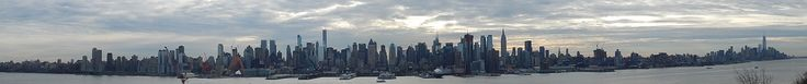 From Wikiwand: The skyscrapers of New York City are almost all situated in Manhattan, seen here in this panorama viewed from Weehawken, New Jersey, in January 2015. Prominent tall buildings include One57 and 432 Park Avenue, left of center