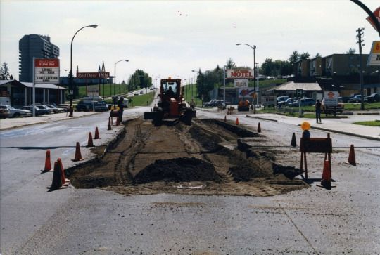 Repairing Gaetz Avenue, at the bottom of the South Hill (by the Dairy Queen), c. 1990.