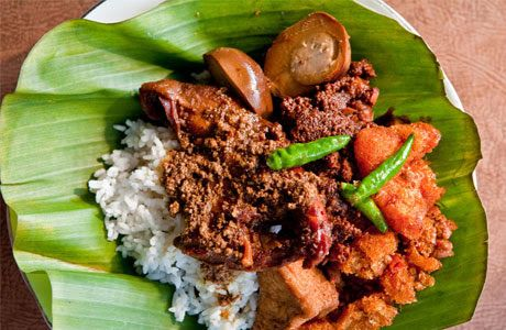 Gudeg is a famous food from Yogyakarta. Gudeg is a kind of curry food that is cooked until blackened and it has a sweet taste.