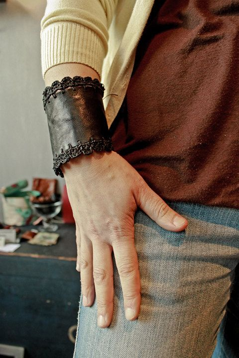 #kibisis #leather #cuff with hand made #crochet - hand stitched hand cut - made in italy by kibisis