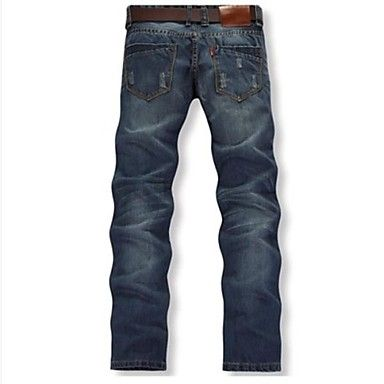 Men's Fasion Casual Straight Denim Pants(Button Random, Worn Out Design Random)  – EUR € 29.48