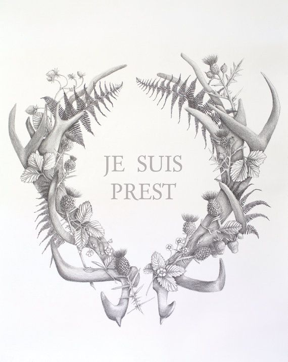 Je suis prest. Outlander art. Large art print by studiohomegrown