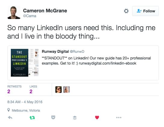 Encouraging Linkedin users to look great - thanks Cam :)