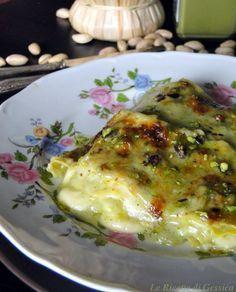 lasagne con pesto di pistacchi e speck