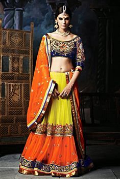 Green and Orange Net Wedding Wear Lehenga Choli