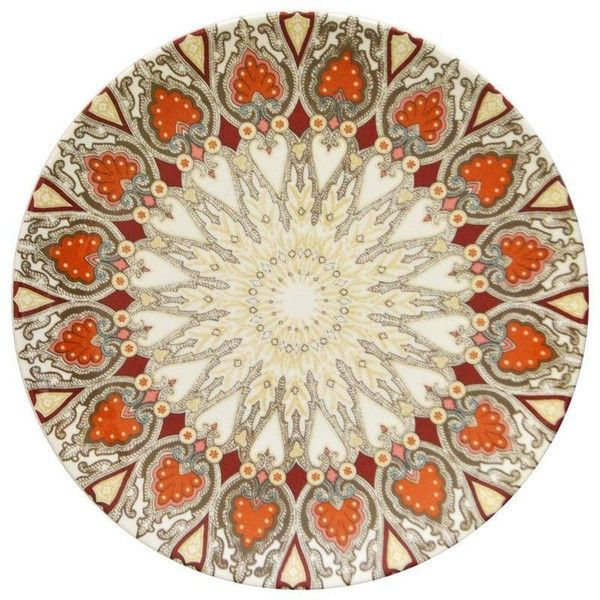 Tan & Orange Paisley Plates - Set of 8 (115 CAD) ❤ liked on Polyvore featuring home, kitchen & dining, dinnerware, colored plates, paisley plates, orange plate set, orange dinnerware and orange plates