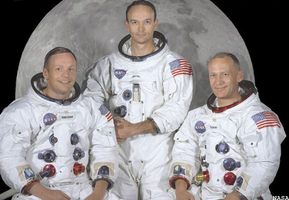 "Apollo 11 Crew NASA from left: Commander Neil A. Armstrong, Command Module Pilot --Michael Collins, and Lunar Module Pilot Edwin E. ""Buzz"" Aldrin Jr. On July 20th 1969 at 4:18 PM, EDT the Lunar Module ""."