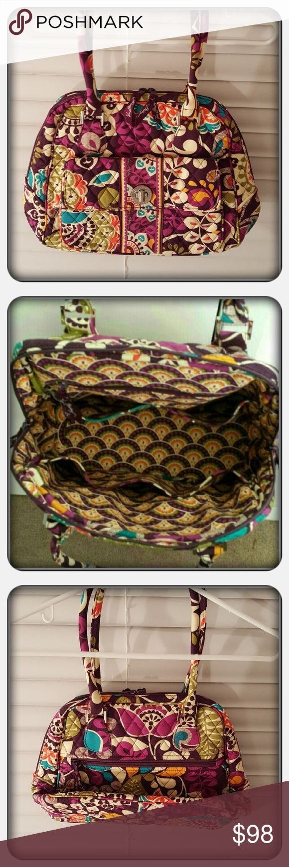 NWOT Vera Bradley Turnlock Satchel Brand New Never Used Vera Bradley Turnlock Satchel In Retired And Rare Plum Crazy Pattern. This Satchel Has So Much Space Plus Multiple Interior Slip Pockets, Interior Zippered Pocket, Big Turnlock Front Pocket On Exterior, Exterior Zippered Pocket & Double Rolled Handles. This Bag Is In Excellent Condition 🚫 PAYPAL 🚫 TRADES 🚫 OFFERS PRICE IS FIRM ❤ Vera Bradley Bags Satchels