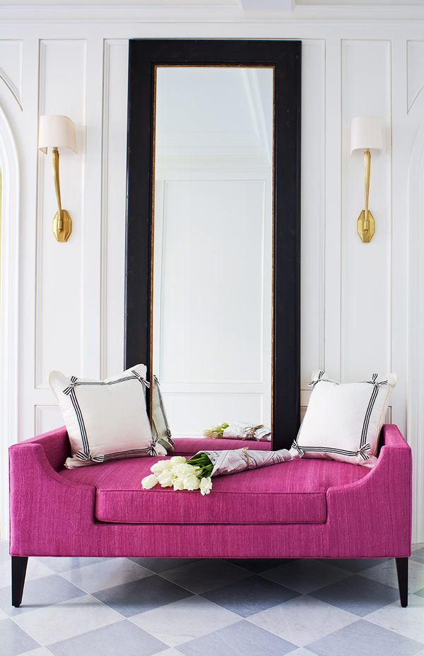 Fabulous Pink bench in the entryway. Interiors by McGill Design Group