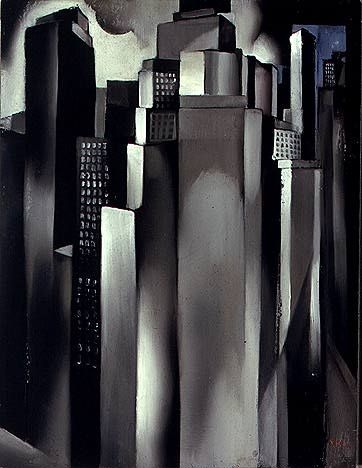 She is one of my fave artists, perhaps Gabe can pull from some of her prints....TAMARA DE LEMPICKA Skyscrapers (c.1927-29)