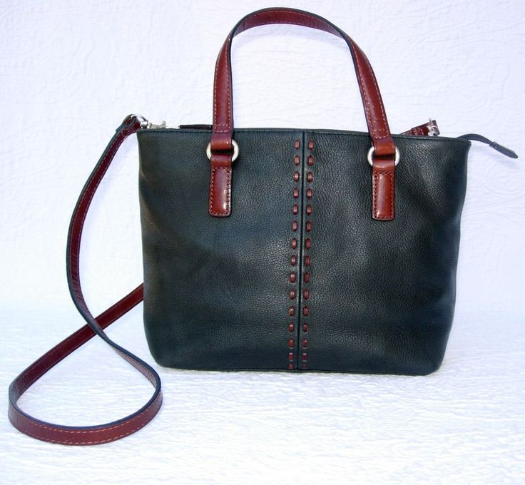 Fossil Soft Black Leather Shoulder Bag W Brown Stitching Zb7013 Fossil Shoulderbag Genuine
