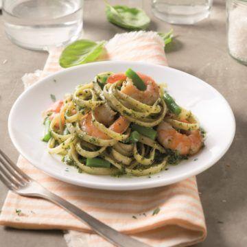 Barilla Bavette med Barilla Pesto alla Genovese, räkor och gröna bönor - Recept - Tasteline.com