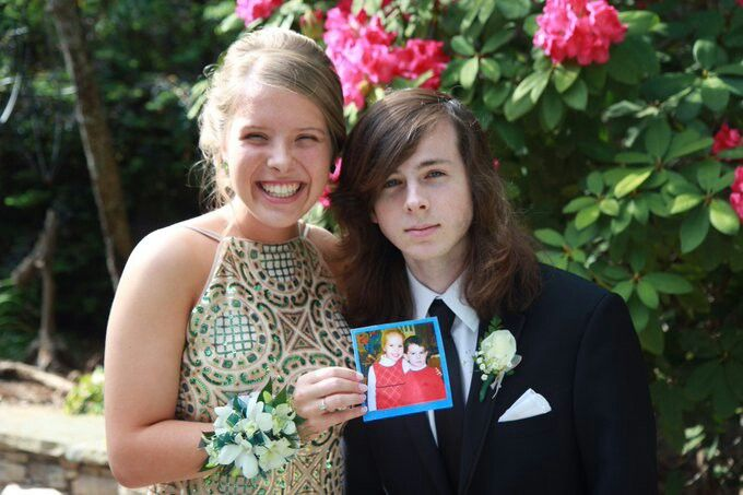 Chandler riggs and his friend at his senior prom