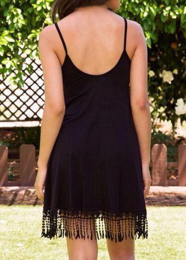 Tirante de espagueti de la borla Vestido Negro Decorado :: Fashionerly