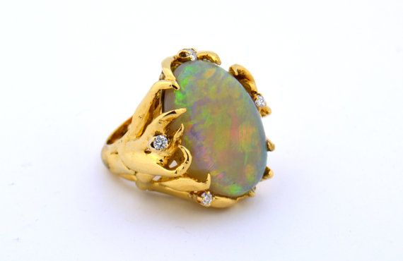 Rare 14K Yellow Gold Fire Crystal Opal Ring with .25cttw Round Diamonds