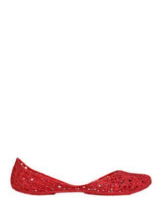 Boutique La Femme - ballerina glitter ZigZag - www.lafemmecorreggio.com Ballerina con glitter in men-flex (pvc) profumato. Soletta interna in tinta.  Articolo:31513 Melissa ZigZag red glitter