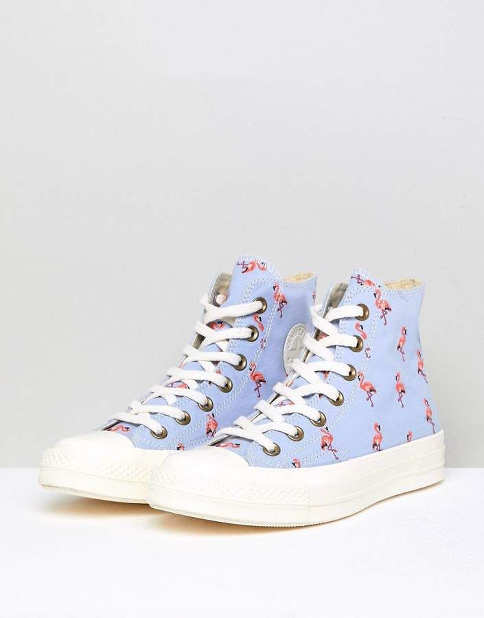 7b7bb7a826c Converse Chuck Taylor All Star 70 Hi Trainers In Blue Embroidered Flamingos